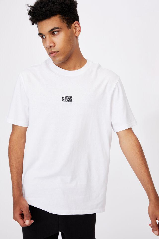 Regular Pop Culture T Shirt, LCN MT WHITE/COMPACT DISC