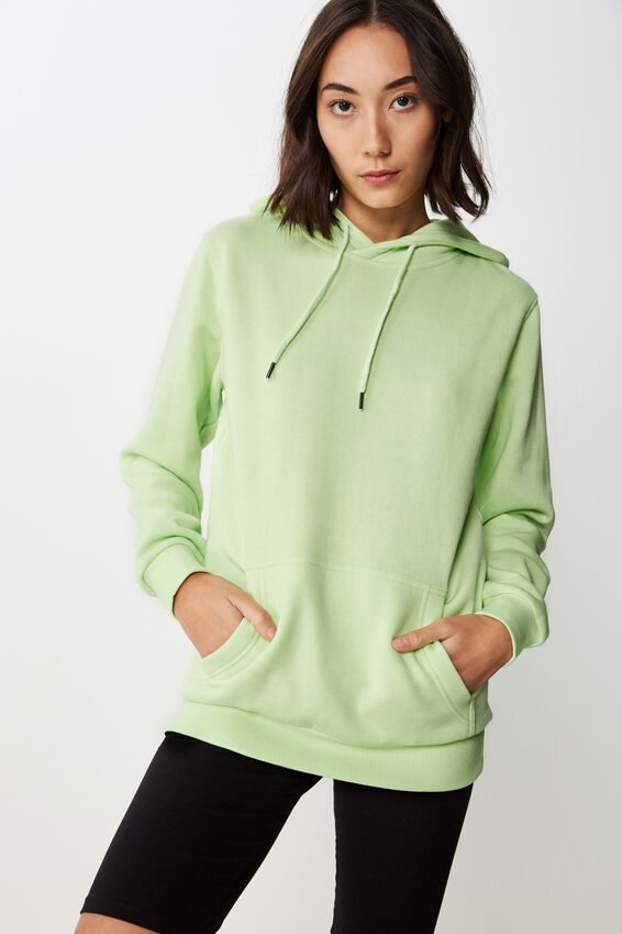 Basic Hoodie, WASHED NEON GREEN