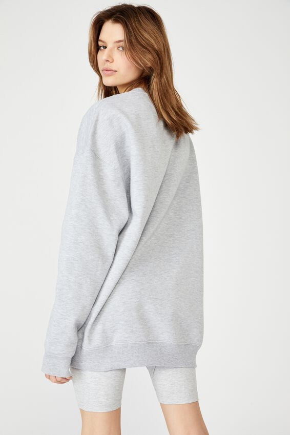 Oversized Crew Neck Sweater, GREY MARLE
