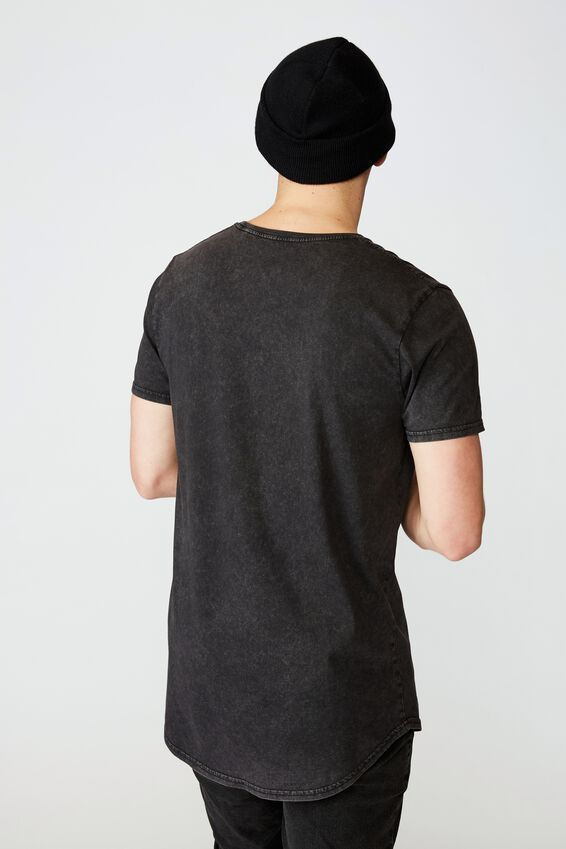 Curved Graphic T Shirt, WASHED BLACK CRASH AND BURN