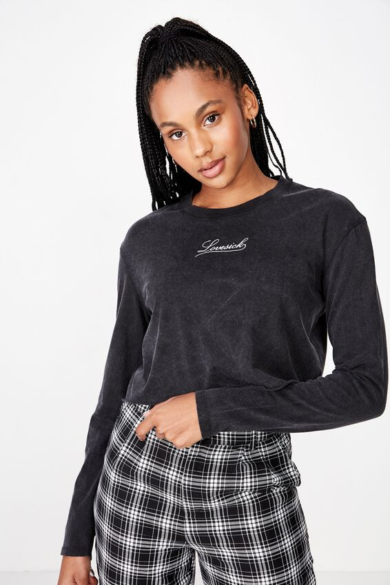 Long Sleeve Raw Edge Graphic Tshirt, WASHED BLACK/LOVESICK