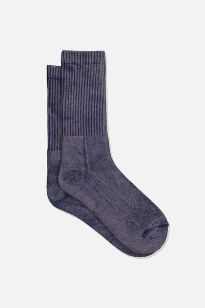 Retro Ribbed Socks, WASHED BLACK