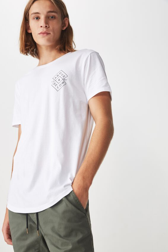 Curved Graphic T Shirt, WHITE/ABOVE THE LINE