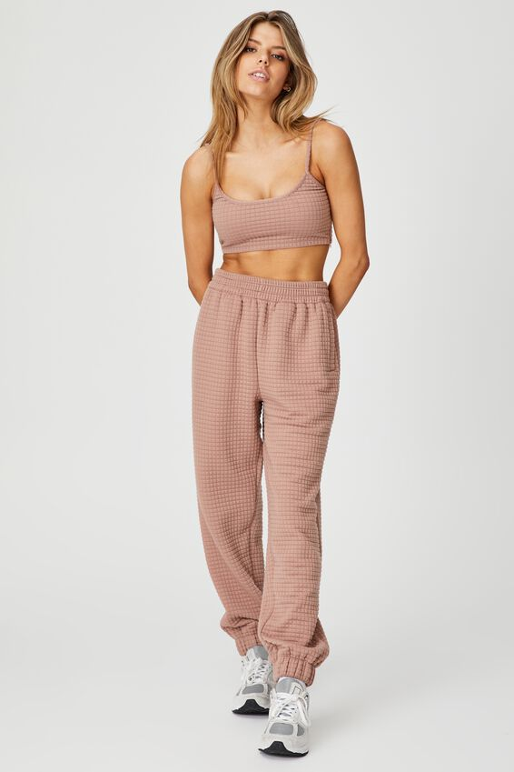 Waffle Fleece Trackpant, DIRTY BLUSH