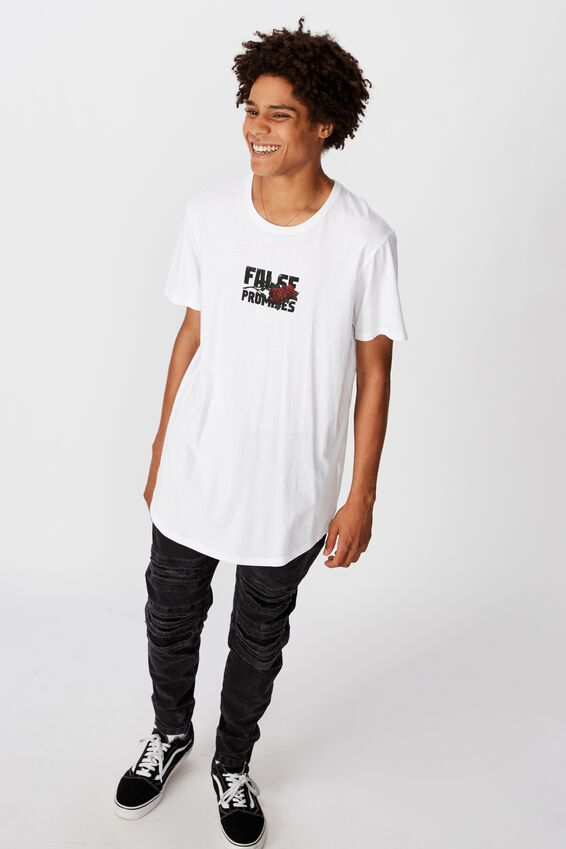 Curved Graphic T Shirt, WHITE/PROMISES