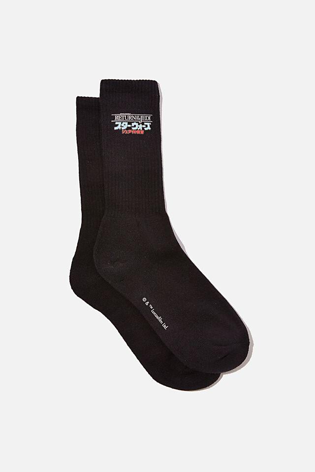 License Retro Rib Socks, LCN DIS BLACK RETURN OF THE JEDI