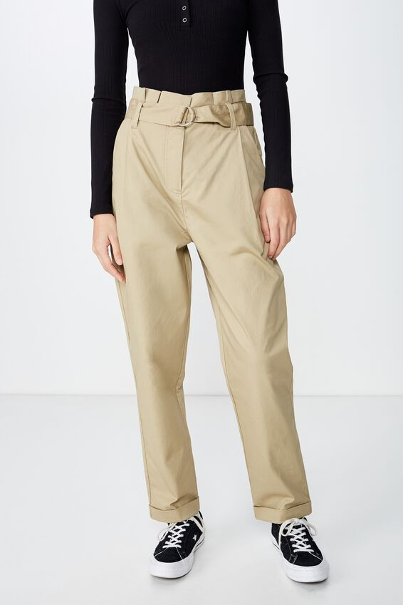 Paperbag Belted Pant, STONE