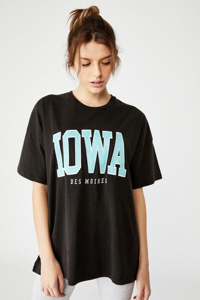 Super Relaxed Graphic Tee, WASHED BLACK/IOWA