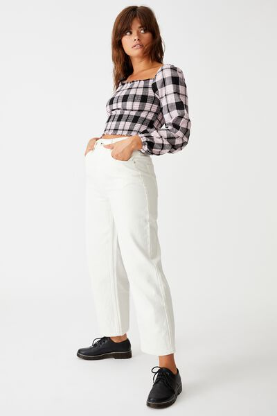 Shirred Long Sleeve Top, ORCHID PURPLE CHECK