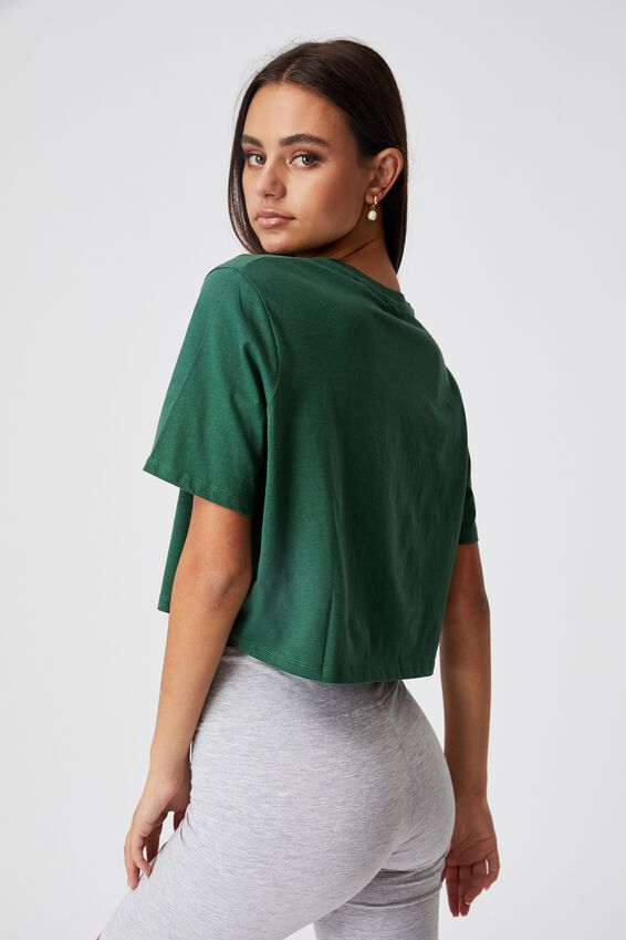 Short Sleeve Crop Graphic T Shirt, HUNTER GREEN/PORTLAND