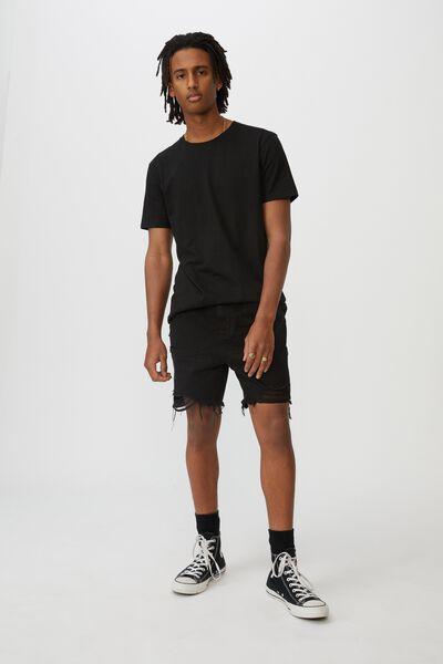 Ripped Rigid Denim Short, WASHED BLACK
