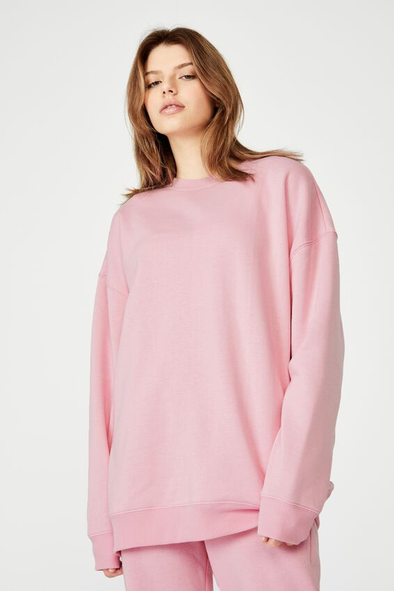 Oversized Crew Neck Sweater, BABE PINK