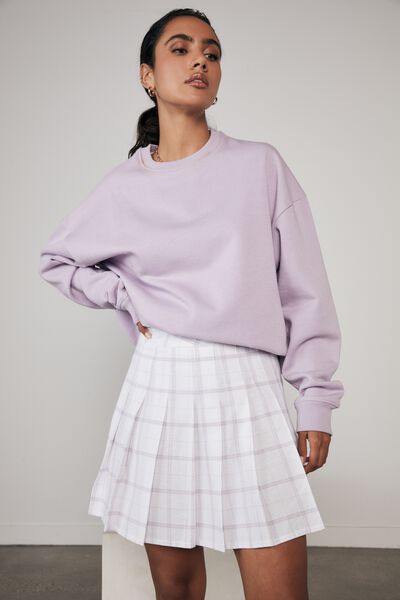 Pleated Skirt, TAYA CHECK_WHITE PALE VIOLET