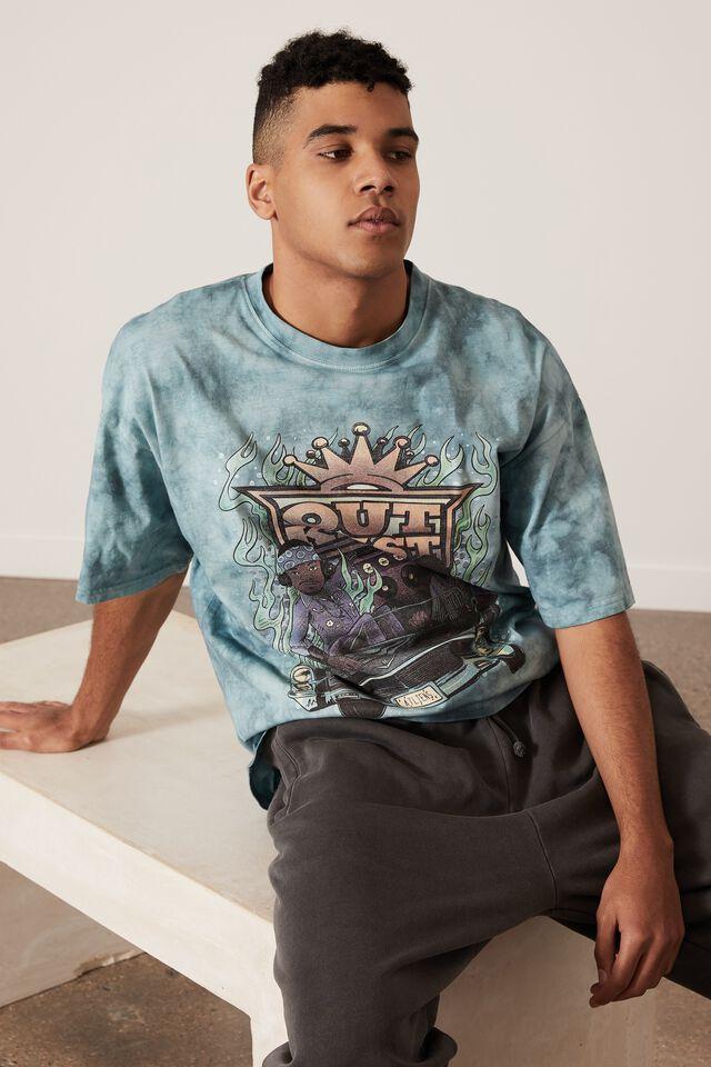 Oversized Music Merch T Shirt, LCN MT TEAL TIE DYE/OUTKAST