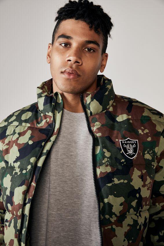 Raiders Puffer Jacket, LCN NFL CAMO/RAIDERS
