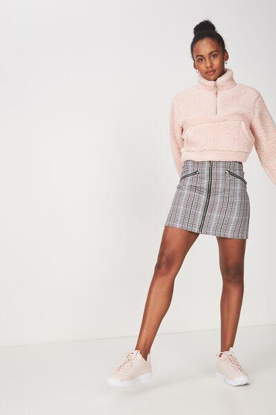 Zip Front A Line Skirt, JOANNA HOUNDSTOOTH