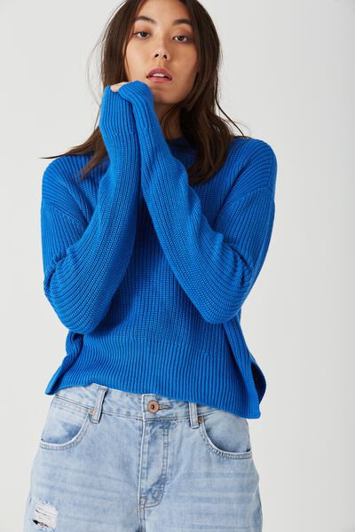 Bianca Boxy Crop, BLUE JEWEL