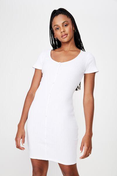 Button Thru Ss Rib Dress 2, WHITE