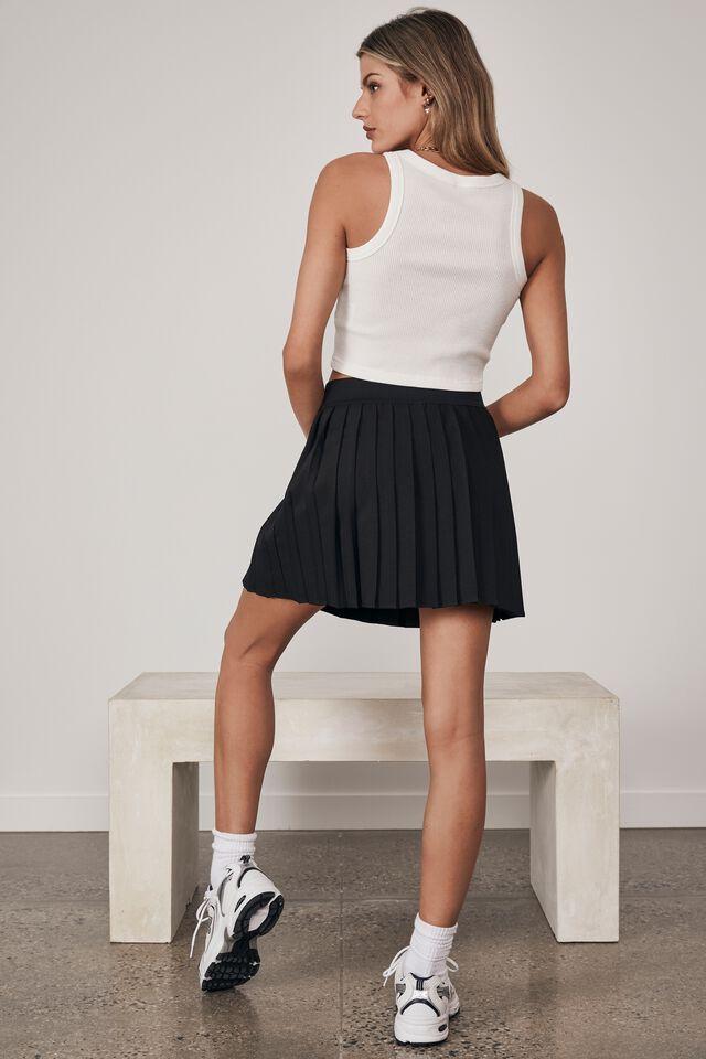 Mini Pleat Skirt, BLACK