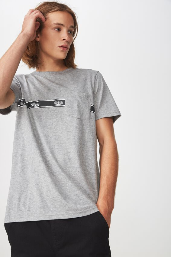 Worldwide Pocket T Shirt., GREY MARLE/GLOBE STRIPE