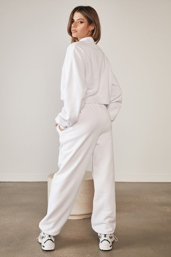 Ruched Side Crew, WHITE