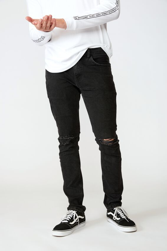 Skinny Leg Denim Jean, WASHED BLACK