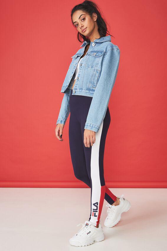 Fila Colour Block Panelled Legging, EVENING BLUE_LYCHEE