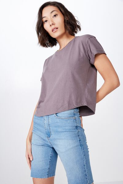Curved Hem Short Sleeve Tee, DARK GREY