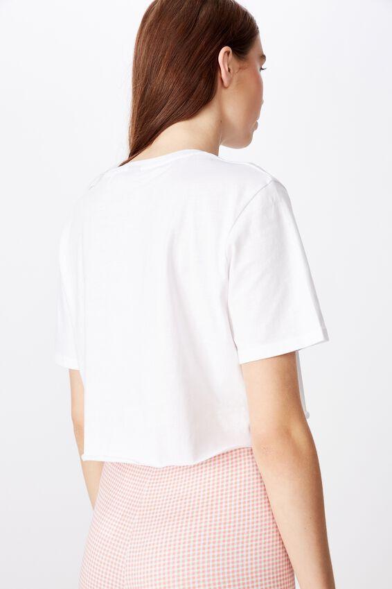Short Sleeve Raw Edge Crop T Shirt, WHITE/VILLAINS