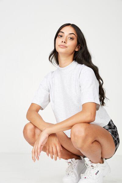 High Neck Boxy Crop Tshirt, SILVER MARLE