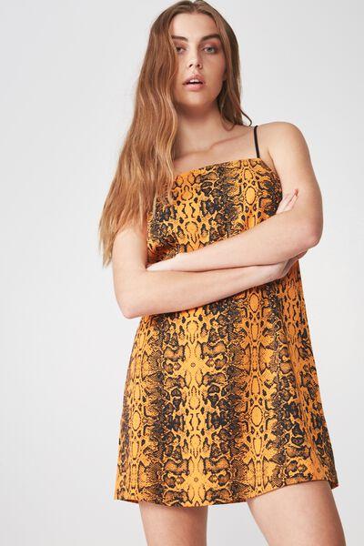 Slip Dress, ORANGE PYTHON
