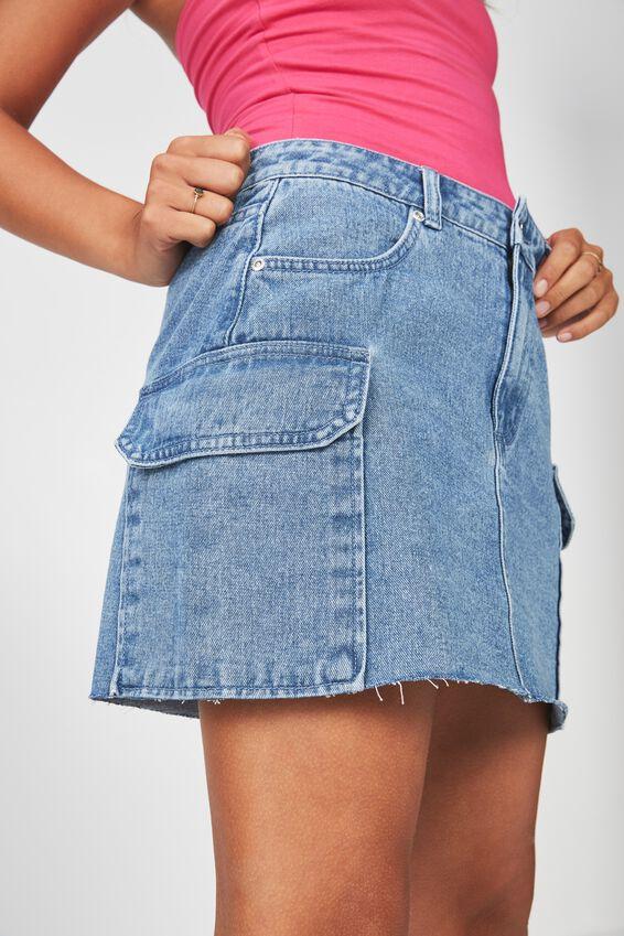 Utility Denim Skirt, WORN BLUE