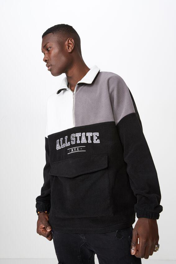 Quarter Zip Spliced Polar Fleece Top, BLACK/GREY/WHITE