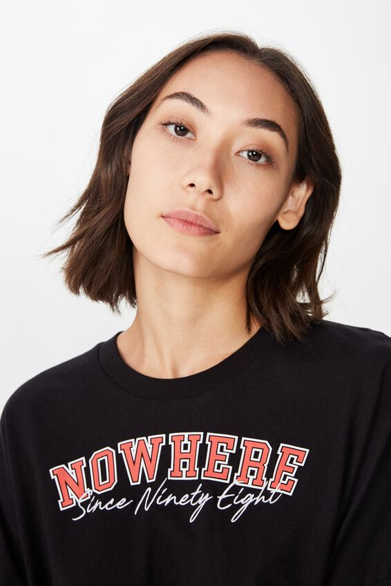 Long Sleeve Graphic T Shirt, NOWHERE 98_RED