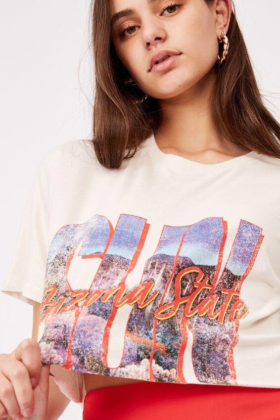 Short Sleeve Raw Edge Crop Graphic T Shirt, WASHED IVORY/ARIZONA