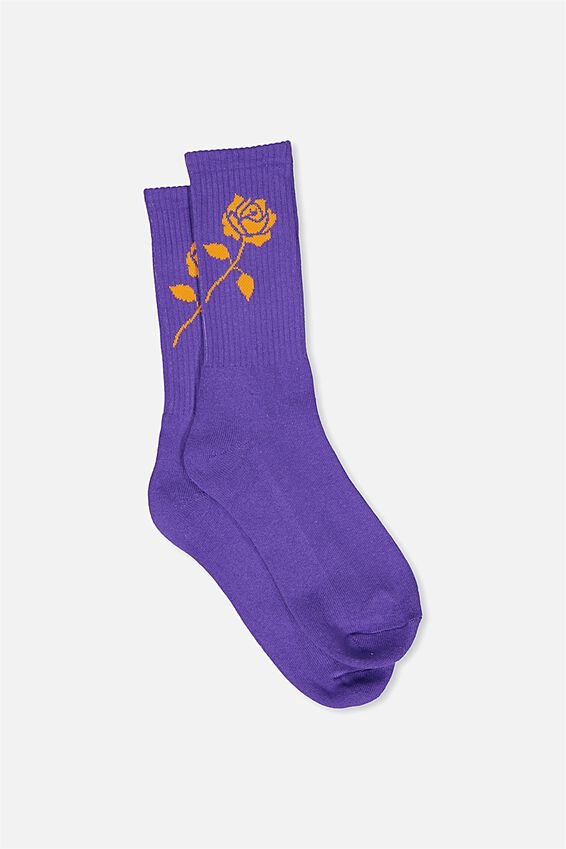 Retro Ribbed Socks, PURPLE_PUFFINS ROSE