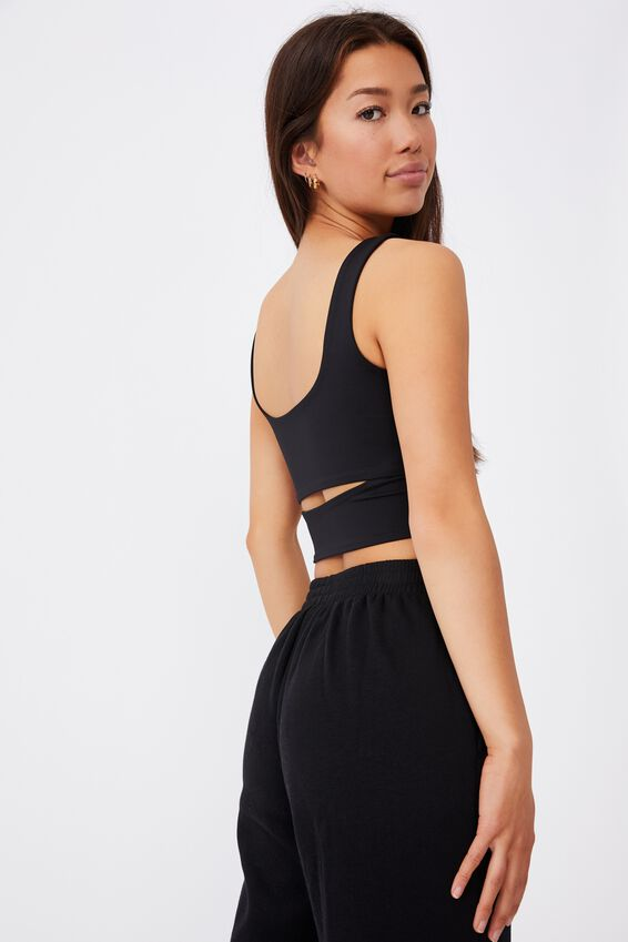 Cut Out Front Tank, BLACK