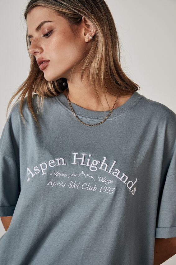 Oversized Graphic T Shirt, PETROL BLUE/ASPEN HIGHLANDS