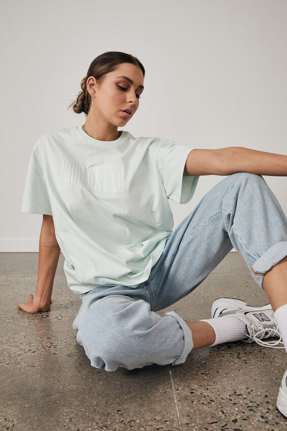 Super Relaxed Graphic Tee, OPAL BLUE/COOL AND KIND