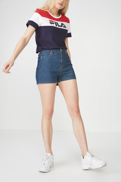 Denim Stretch Short, MID BLUE