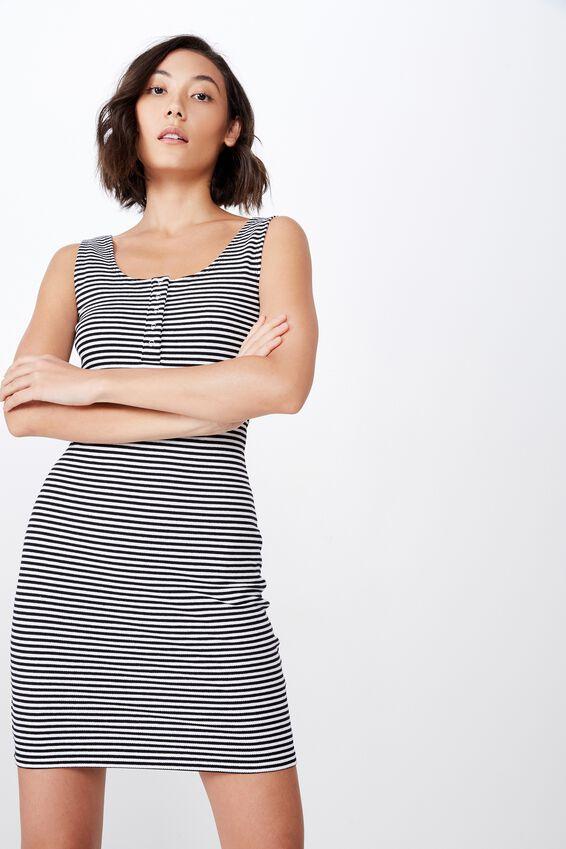 Henley Tank Rib Dress, AMARRA STRIPE - BLACK AND WHITE