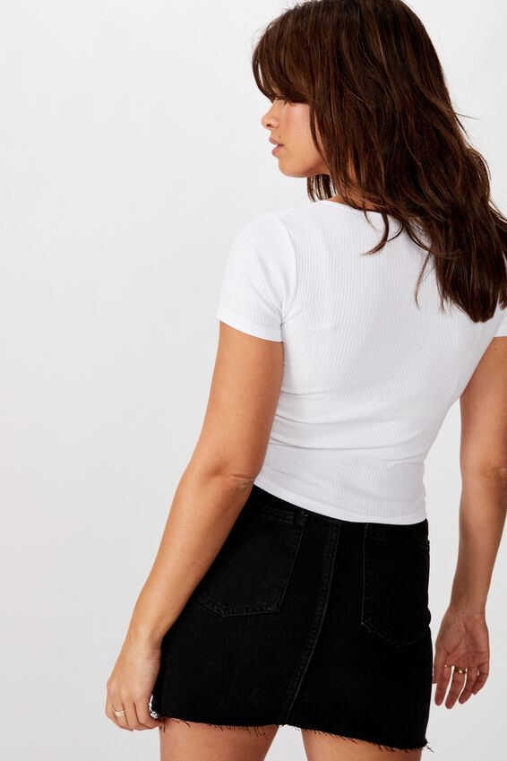 Lace Up Cap Sleeve Top, WHITE