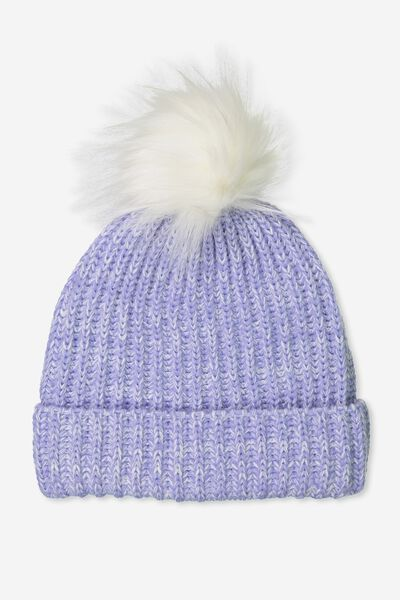 Pom Pom Beanie, POWDER BLUE/SILVER