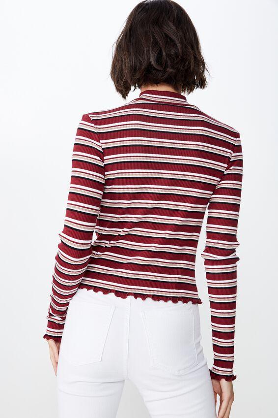 Stripe Rib Lettuce Edge Long Sleeve, KENNY STRIPE_CABERNET