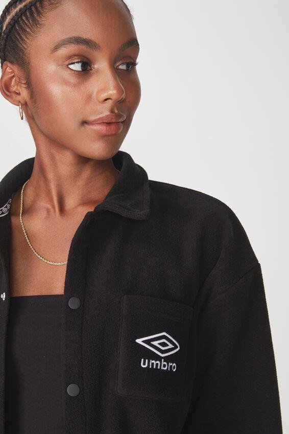 Umbro Lcn Cropped Polar Fleece Jacket, BLACK