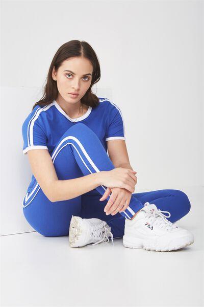 Stripe Legging, DAZZLING BLUE /WHITE STRIPE
