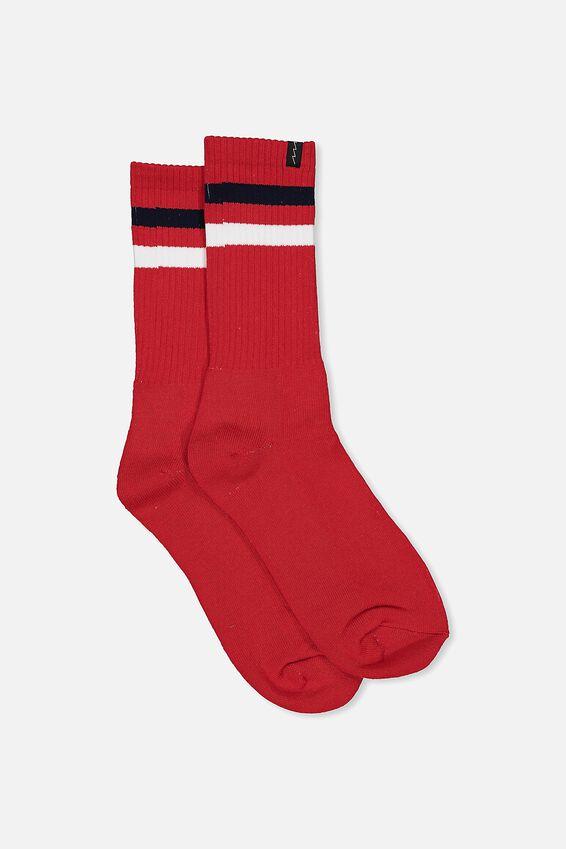 Retro Ribbed Socks, RED_WHITE NAVY STRIPE