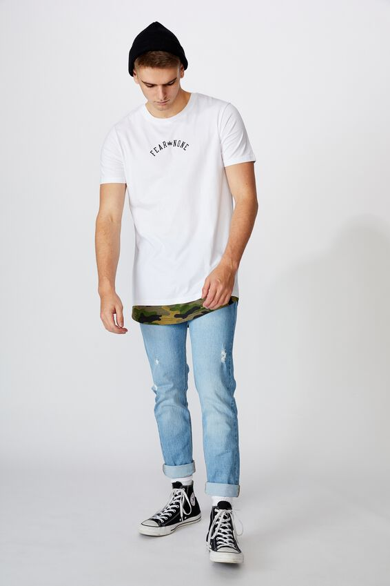 Longline Mock Hem Graphic T Shirt, WHITE/FEAR NONE CAMO