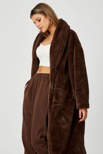 Longline Faux Fur Jacket, CHOCOLATE
