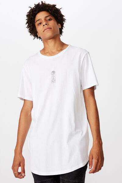 Curved Graphic T Shirt, WHITE/FLOWERLINE